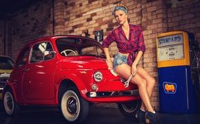 Picture Girl, key, blonde, column, car