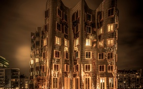 Picture night, the building, Germany, Sepia, Germany, Dusseldorf