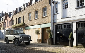 Picture house, yard, land rover, defender