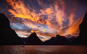 Picture the sky, clouds, sunset, mountains, lake, the evening, hdr