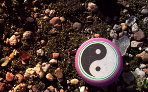 Picture glass, stones, earth, cover, Yin-Yang