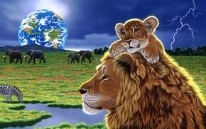 Picture planet, art, Earth, lions, William Schimmel