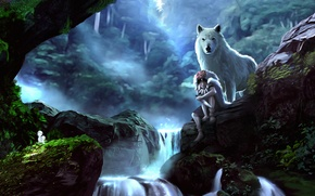 Picture forest, girl, stones, wolf, art, princess mononoke