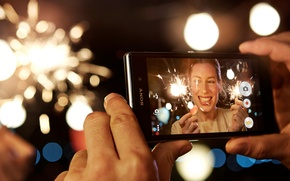 Picture Girl, Lights, Hands, Sony, Photo, Xperia z1