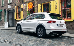 Picture white, Volkswagen, car, rear view, crossover, Tiguan, R-Line