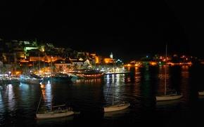 Picture sea, night, lights, coast, island, home, boats, pier, boats, Croatia, island Hvar
