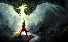 Picture the game, mountains, magic, warrior, armor, Electronic Arts, Dragon Age Inquisition, sword, BioWare