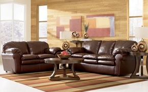 Wallpaper room, furniture, wall, sofa, leather, chair, Windows