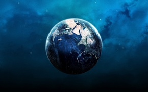 Wallpaper planet, light, earth, blue