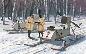 Picture Soviet, propeller., which, engine, screw, self-propelled, snowmobile, pushing, air, equipped with, RF-8 GAZ-98