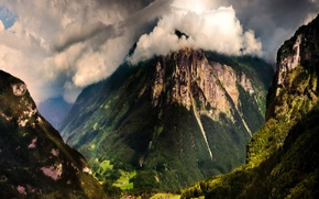 Picture forest, mountains, clouds, view, home, Switzerland, valley, gorge, Switzerland