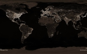 Picture night, lights, earth, continents, countries, oceans, cities