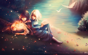 Picture girl, river, fire, shore, the demon, book, guy, fan art, Howl's moving castle, Howl's Moving …