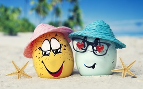 Wallpaper eggs, glasses, happy, beach, funny, cute, summer, tropical