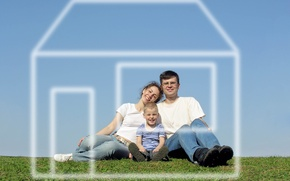 Picture the sky, grass, dream, house, woman, family, pair, male, husband, wife