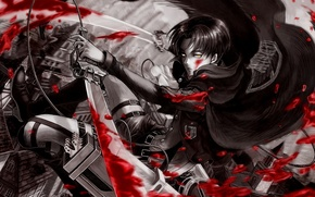 Picture blood, attack of the titans, Shingeki no Kyojin, the invasion of the titans, corporal Levi