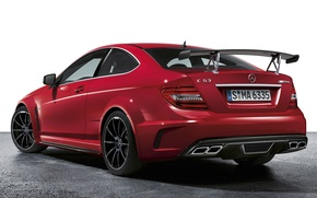 Picture red, supercar, spoiler, mercedes-benz, Mercedes, rear view, coupe, amg, wing, AMG, ц63, black series, black ...