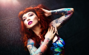 Picture girl, face, hair, body, makeup, tattoo, Xenia