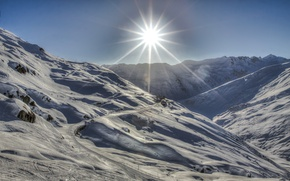 Picture the sun, rays, light, snow, mountains, home