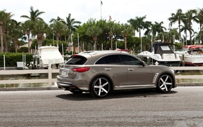 Picture The sky, Clouds, Auto, Pier, Yachts, Tuning, Palm trees, Infiniti, Machine