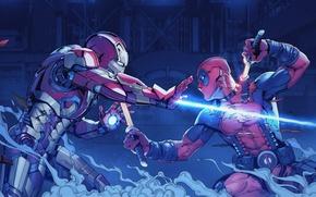 Picture fight, tony stark, wade wilson, Iron man vs deadpool