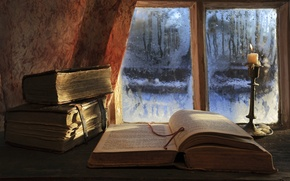 Picture books, candle, window, read till morning