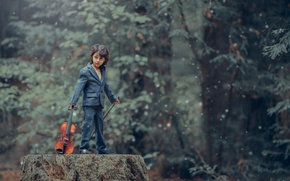 Picture violin, boy, Rockstar