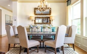 Picture design, table, chairs, mirror, dining room