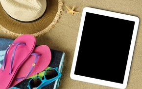 Picture beach, summer, stay, hat, glasses, summer, tablet, beach, vacation, sun, sand, slates, vacation, accessories