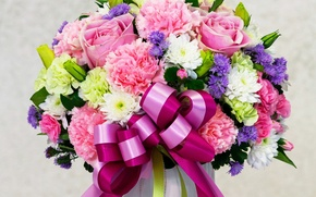 Picture roses, bouquet, colorful, bow, March 8, beautiful, beautiful, Roses, chic, Chrysanthemum, Clove, Asters, Bouquets