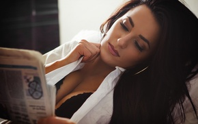 Picture girl, face, hair, newspaper, attention