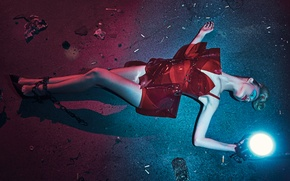 Wallpaper light, pose, model, makeup, figure, actress, hairstyle, shoes, lantern, outfit, lies, legs, chain, on the ...