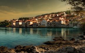 Picture sea, trees, coast, home, the evening, Croatia, Postira