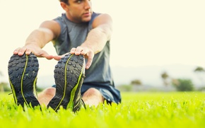 Picture grass, slippers, outdoors, man stretching