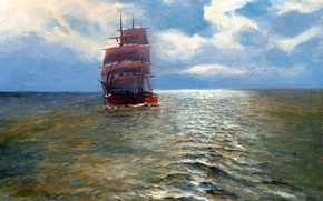 Picture sea, the sky, landscape, ship, picture, sails, Alfred Jansen
