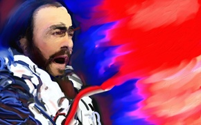 Wallpaper music, painting, singer, Luciano Pavarotti, tenor