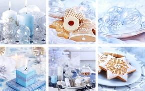 Picture holiday, blue, collage, new year, candles, cookies, Christmas decorations, serving, Wallpaper from lolita777