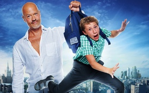 Picture the sky, the city, boy, backpack, poster, Ghost, Comedy, Semyon Treskunov, Fyodor Bondarchuk