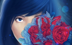 Picture look, flowers, face, roses, bouquet, art, painting, girl. blue hair