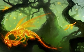 Picture forest, trees, wings, fantastic. art, Zsolt Kosa, fire dragons