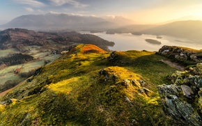 Picture light, mountains, hills, morning, lake, England, Cumbria, national Park lake district