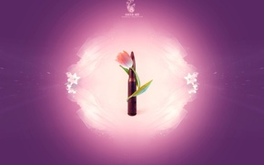 Wallpaper minimalism, cartridge, flower