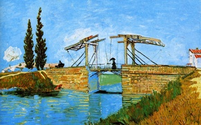 Picture the sky, girl, trees, bridge, home, picture, channel, Vincent Van Gogh, Langlois Bridge At Arles …
