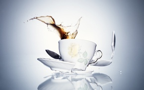 Picture fragments, drink, Cup, saucer