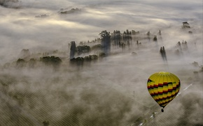 Picture landscape, fog, sport, ball