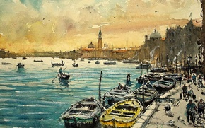Wallpaper home, picture, boats, watercolor, Venice, the urban landscape, Maximilian DAmico