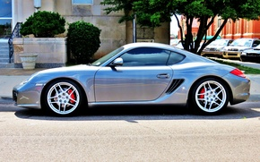 Picture street, tuning, silver, Parking, sports car, car, drives, Porsche Cayman