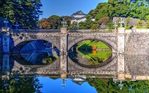 Picture water, bridge, reflection, Japan, Tokyo, Tokyo, Japan, Palace, ditch, Bridge Nijubashi, Imperial Palace, Imperial Palace, …