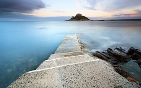Picture island, road, stone, the city, sea, fortress, steps, twilight, the evening, clouds, sunset