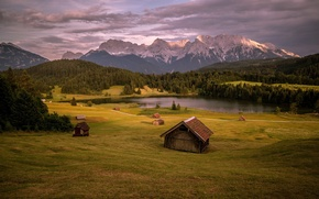 Picture field, landscape, mountains, lake, houses